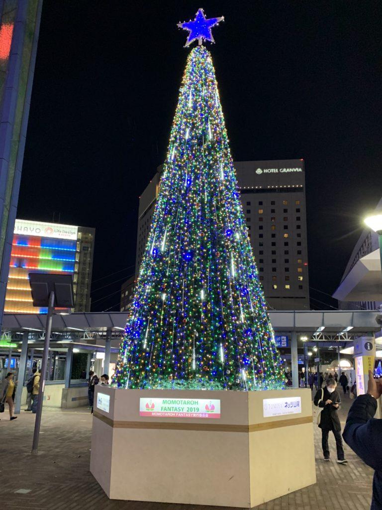 岡山駅前のイルミネーション ツリー全色