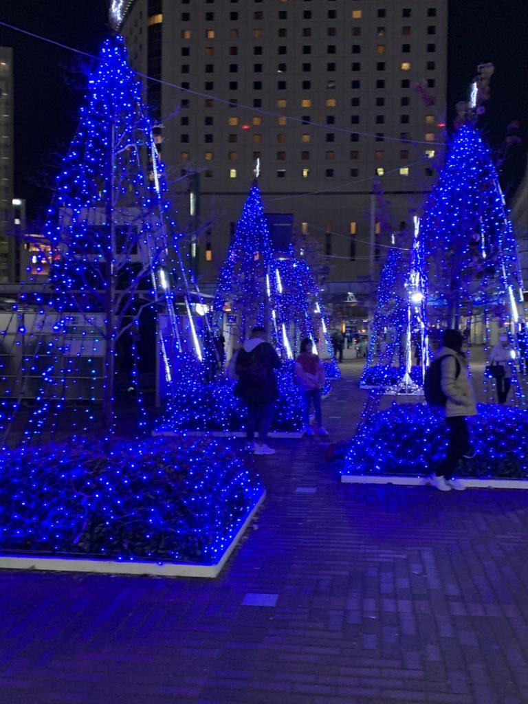 岡山駅前のイルミネーション